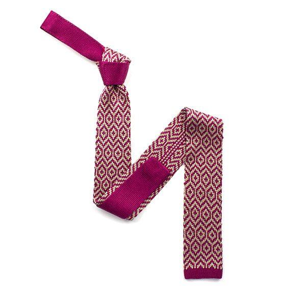 Fuchsia Pink/cream silk knitted tie-0