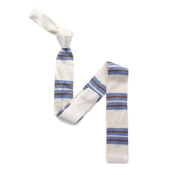 White/sky blue/brown striped silk knitted tie-0