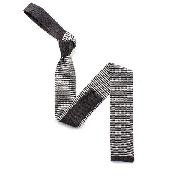 Steel grey/white striped silk knitted tie-0