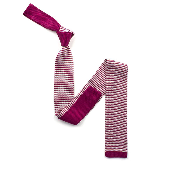 Burgundy with pink and white stripes silk knitted tie