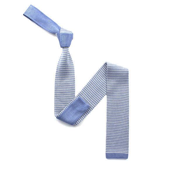 Sky blue/white striped silk knitted tie