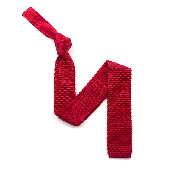 plain Red silk knitted tie-0