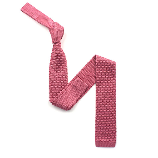 plain Pink silk knitted tie
