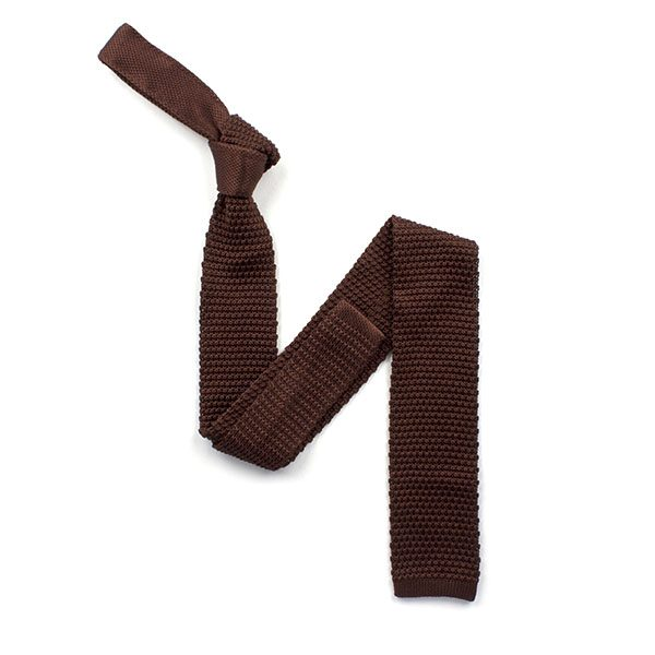 plain Chocolate Brown silk knitted tie-0