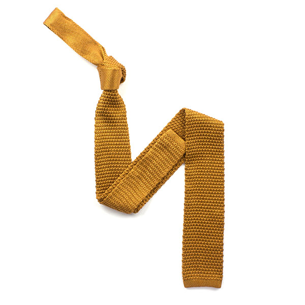 plain vintage Gold silk knitted tie