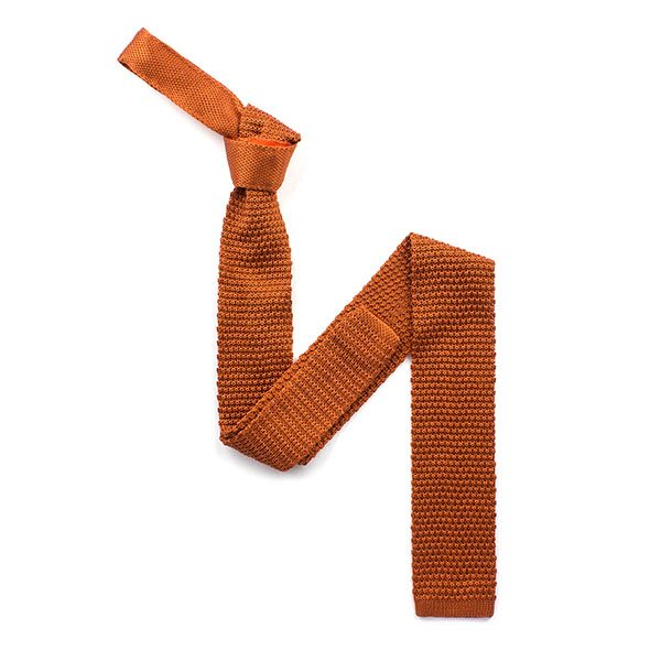 plain bronze silk knitted tie-0