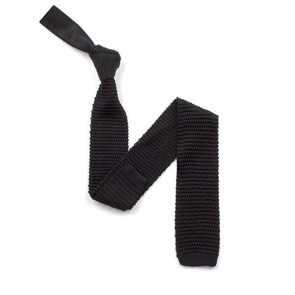 plain Black silk knitted tie-0
