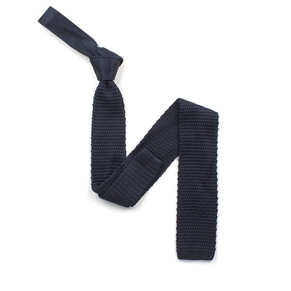 plain Navy silk knitted tie-0