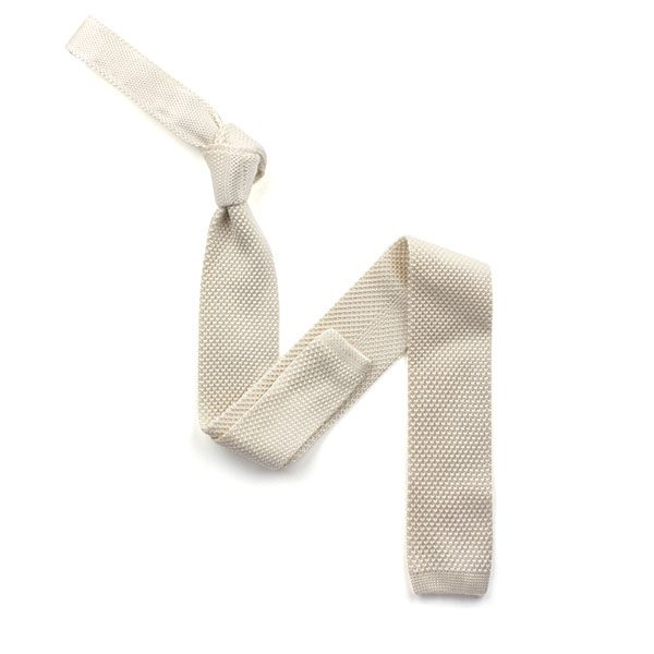 plain ivory silk knitted tie-0
