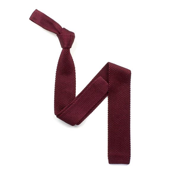 plain Burgundy silk knitted tie