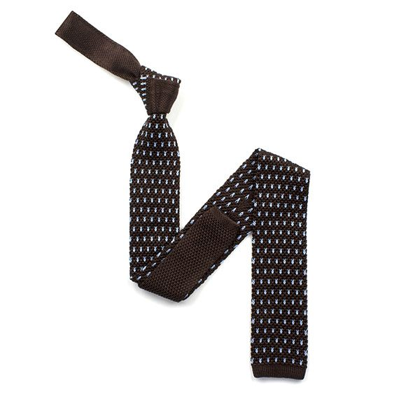 Brown with sky blue spots silk knitted tie-0