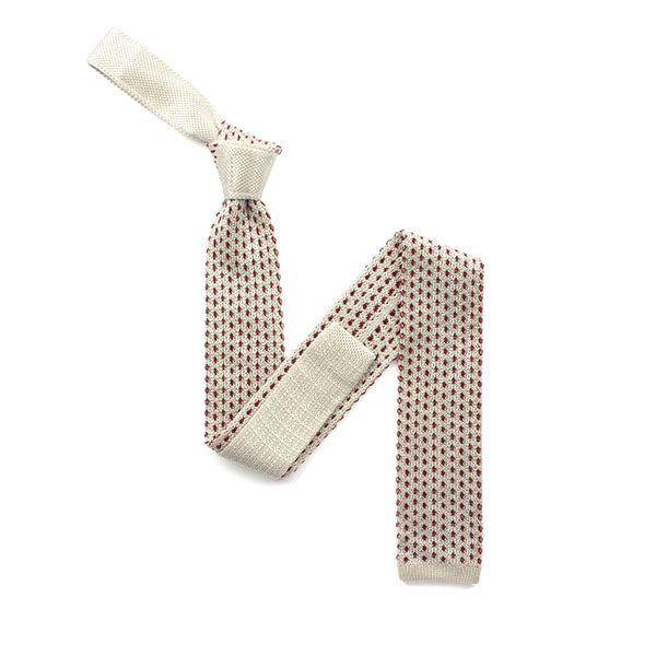 White/red dots silk knitted tie-0