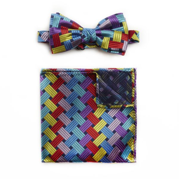 MULTI WEAVE SILK BOW WITH MATCHING POCKET SQUARE-0