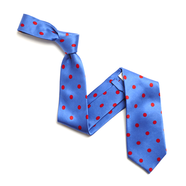 SKY BLUE/LARGE RED POLKA DOTS SILK TIE-0