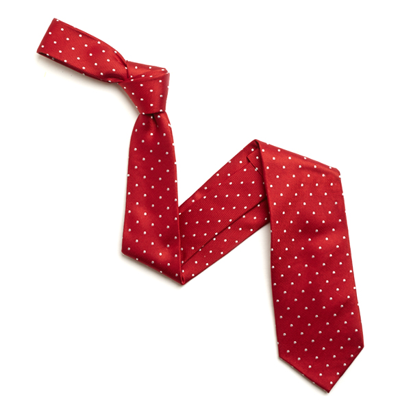 RED/WHITE SMALL DOTS SILK TIE