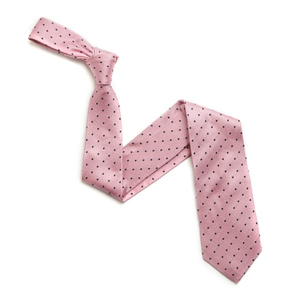PINK/BLACK SMALL DOTS SILK TIE-0