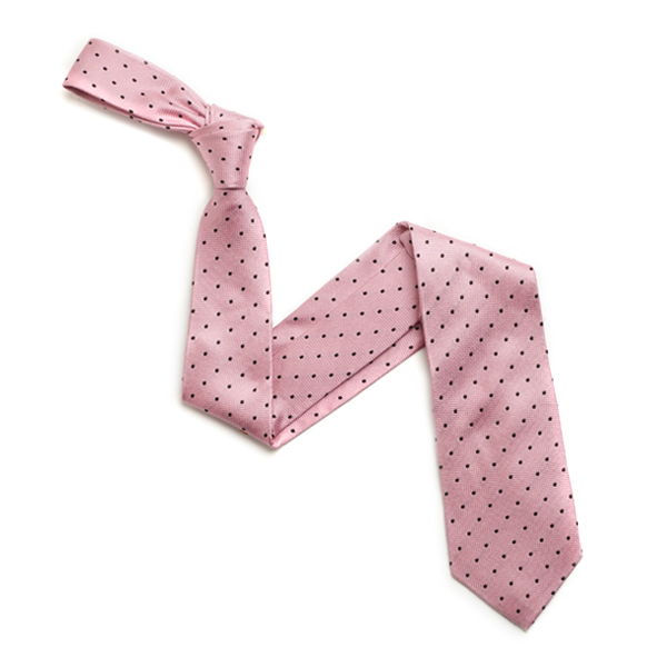 PINK/NAVY SPOTTED SILK TIE