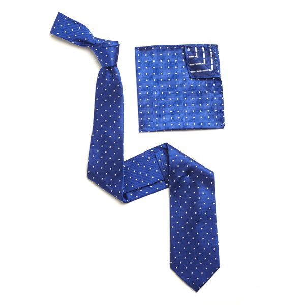 BLUE/WHITE SILK TIE & MATCHING SILK POCKET SQUARE-0