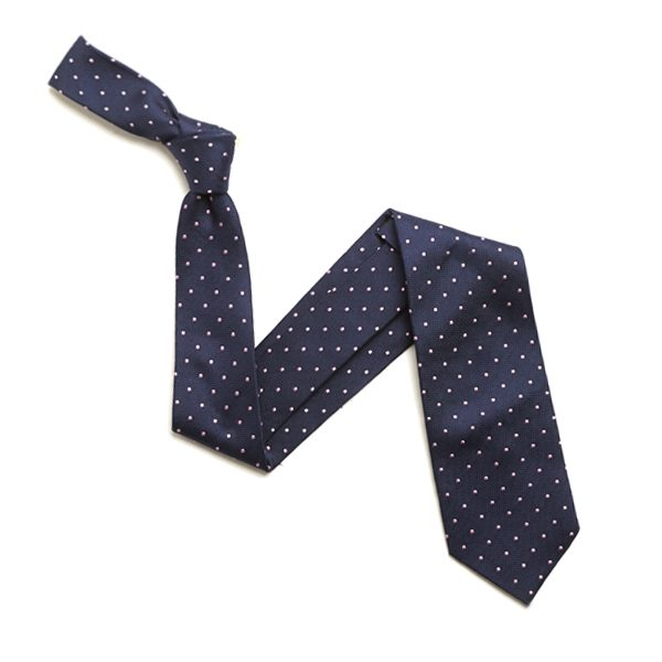 NAVY/PINK SMALL DOTS SILK TIE-0
