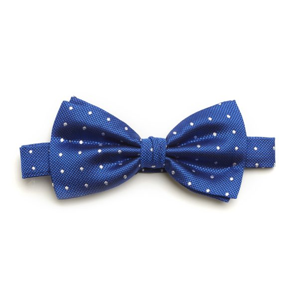 Royal blue/white Spotted Silk Bow Tie-0