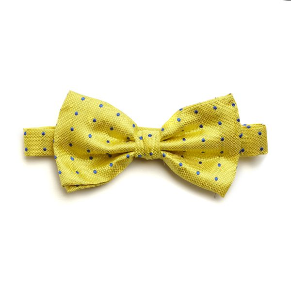 Yellow/Royal Blue Spotted Silk Bow Tie-0