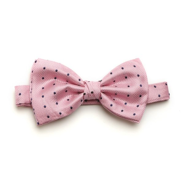 Pink/Navy Spotted Silk Bow Tie-0