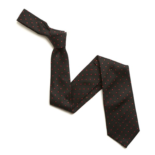 BLACK/RED SMALL DOTS SILK TIE-0