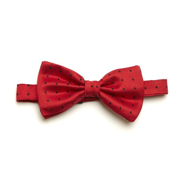 Red/Black Spotted Silk Bow Tie-0