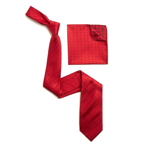 RED/BLACK SILK TIE & MATCHING SILK POCKET SQUARE