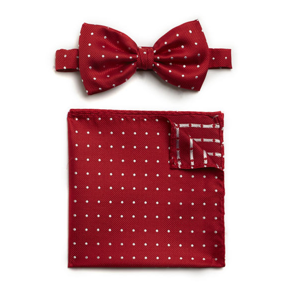 RED/WHITE SPOTTED SILK BOW WITH MATCHING POCKET SQUARE