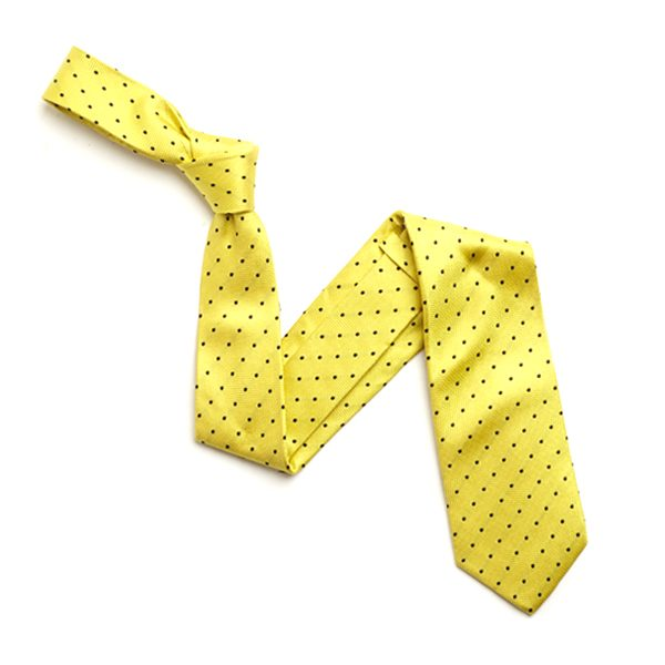 YELLOW/BLACK SMALL DOTS SILK TIE-0