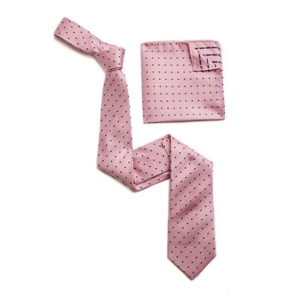 PINK/BLACK SILK TIE & MATCHING SILK POCKET SQUARE-0
