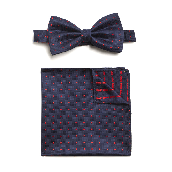 NAVY/RED SPOTTED SILK BOW WITH MATCHING POCKET SQUARE