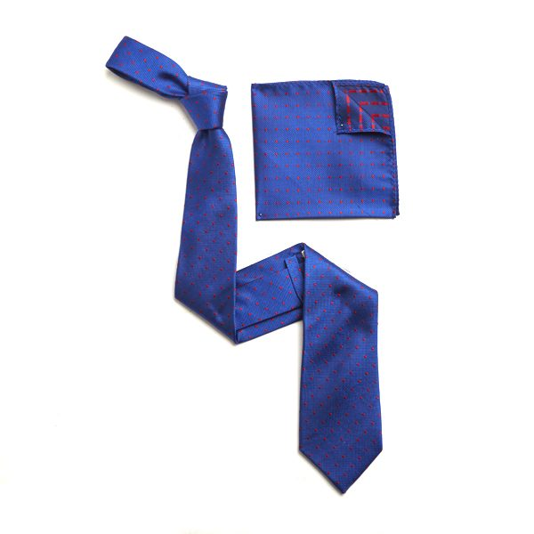 BLUE/RED SILK TIE & MATCHING SILK POCKET SQUARE-0