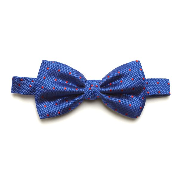 Royal Blue/Red Spotted Silk Bow Tie-0