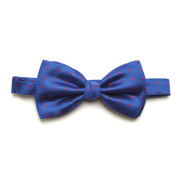 Royal Blue/Red Spotted Silk Bow Tie