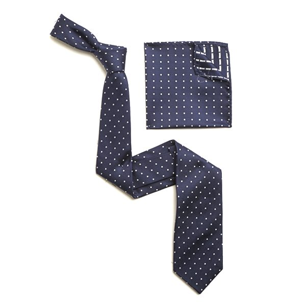 NAVY/WHITE SILK TIE & MATCHING SILK POCKET SQUARE-0