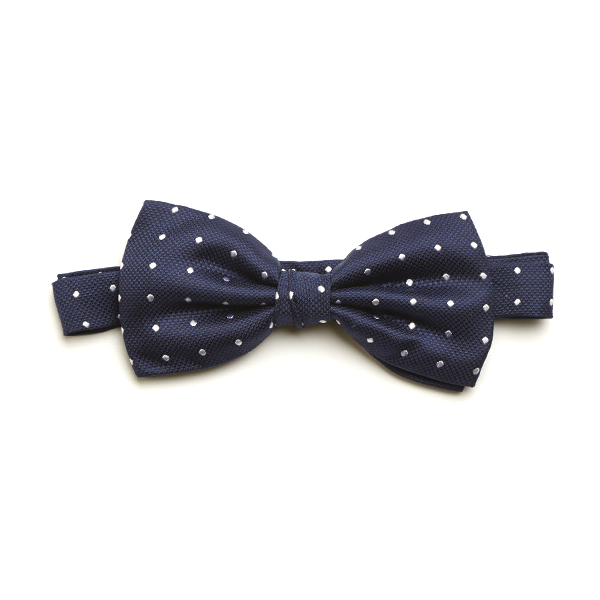 Navy/White Spotted Silk Bow Tie