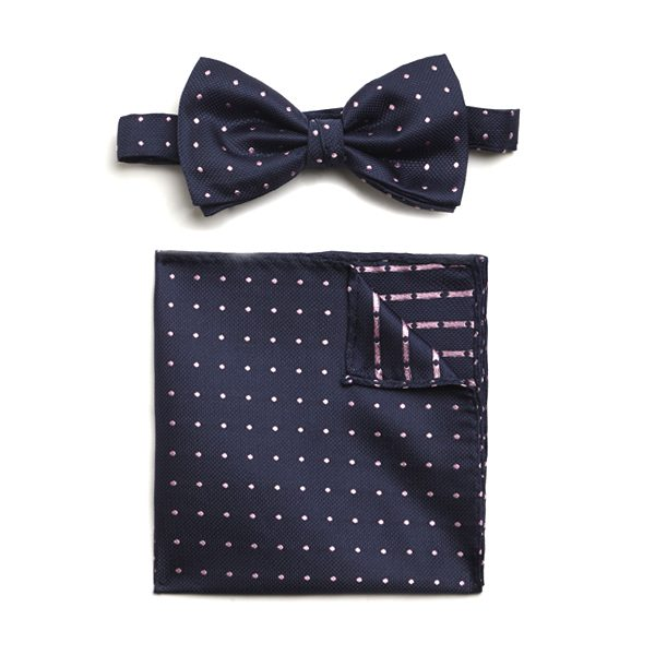NAVY/PINK SPOTTED SILK BOW WITH MATCHING POCKET SQUARE-0