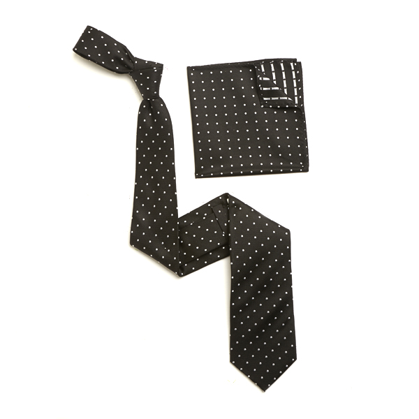 BLACK/WHITE SILK TIE & MATCHING SILK POCKET SQUARE