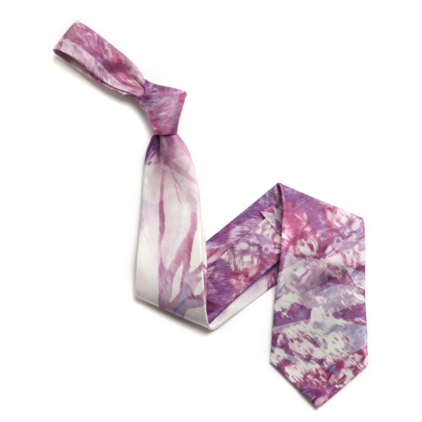 Pink/White Abstract Sorrento Silk Tie