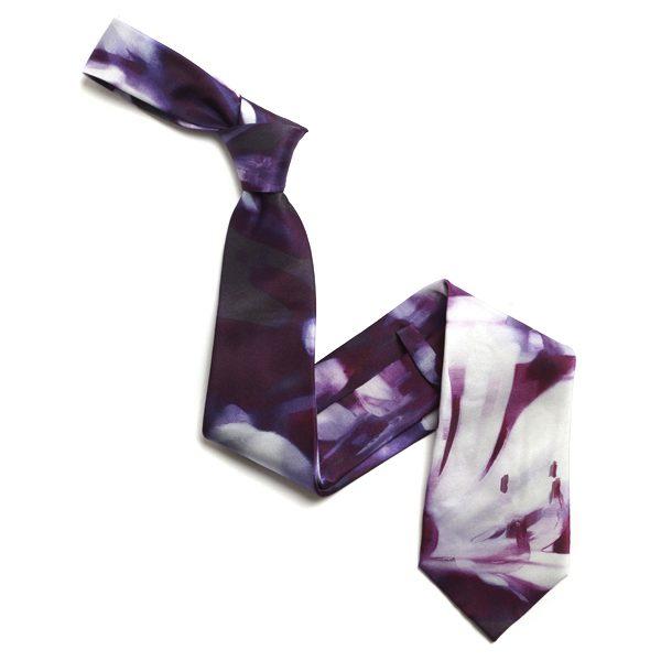 Purple/White Abstract Sorrento Silk Tie-0