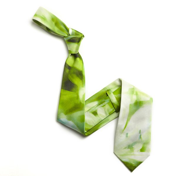 Lime Green/White Abstract Sorrento Silk Tie-0