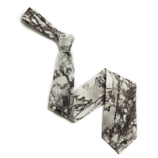 Grey/white marble Abstract Sorrento Silk Tie-0