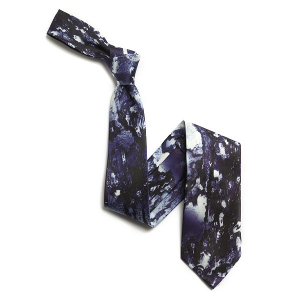 Navy/White Abstract Sorrento Silk Tie-0