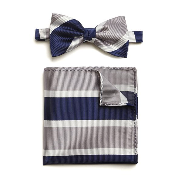 NAVY/SILVER/WHITE STRIPED SILK BOW WITH MATCHING POCKET SQUARE-0