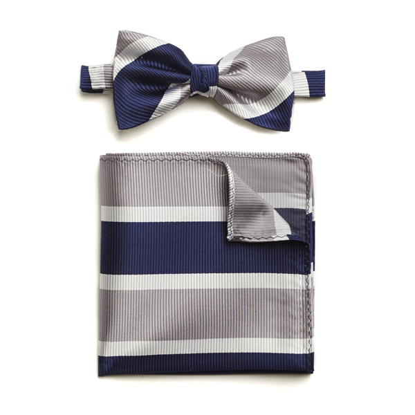 NAVY/SILVER/WHITE STRIPED SILK BOW WITH MATCHING POCKET SQUARE