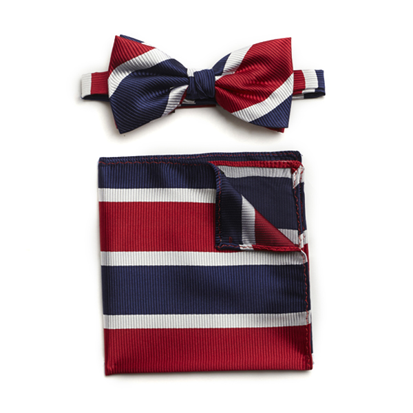 RED/WHITE/NAVY STRIPED SILK BOW WITH MATCHING POCKET SQUARE