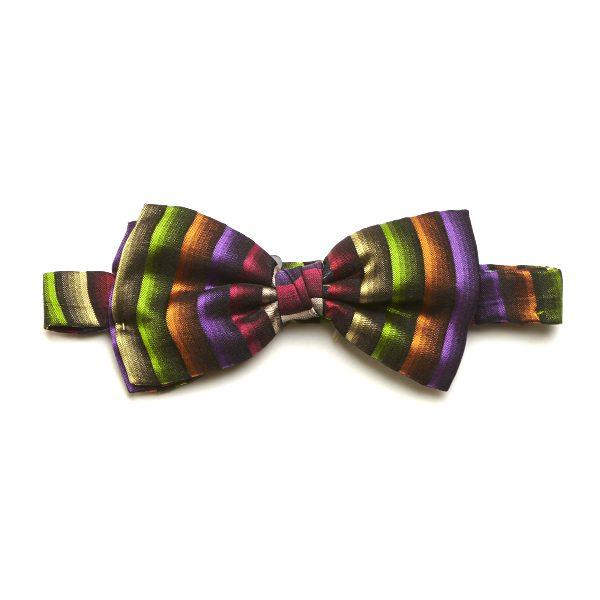 Green/Multi Striped Silk Bow Tie-0