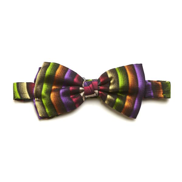 Green/Multi Striped Silk Bow Tie